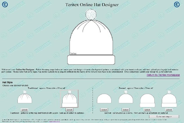 Teritex Online Hat Designer - User Guide - design your own football hat - Hat Style