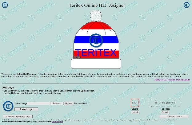Teritex Online Hat Designer - User Guide - design your own football hat - hat logo