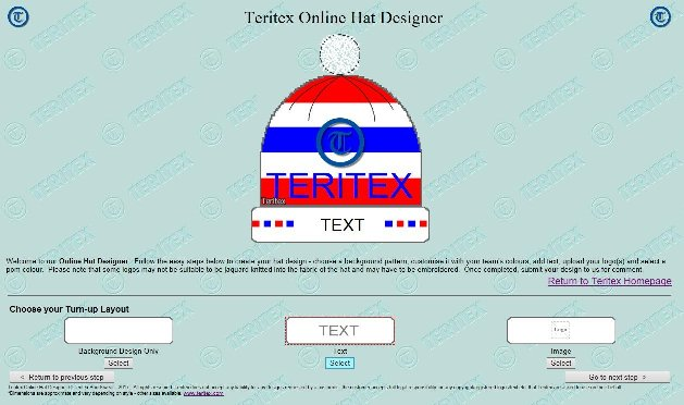 Teritex Online Hat Designer - User Guide - design your own football hat - hat turn-up layout