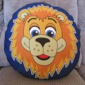 Example of a custom designed printed polyester round football cushion made by Teritex