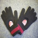 Pair of custom designed football supporters embroidered knitted gloves made by Teritex