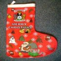 Image of a custom designed printed polyester fleece Xmas stocking manufactured by Teritex