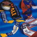 Image of a selection of custom designed knitted and printed football / soccer scarves manufactured by Teritex